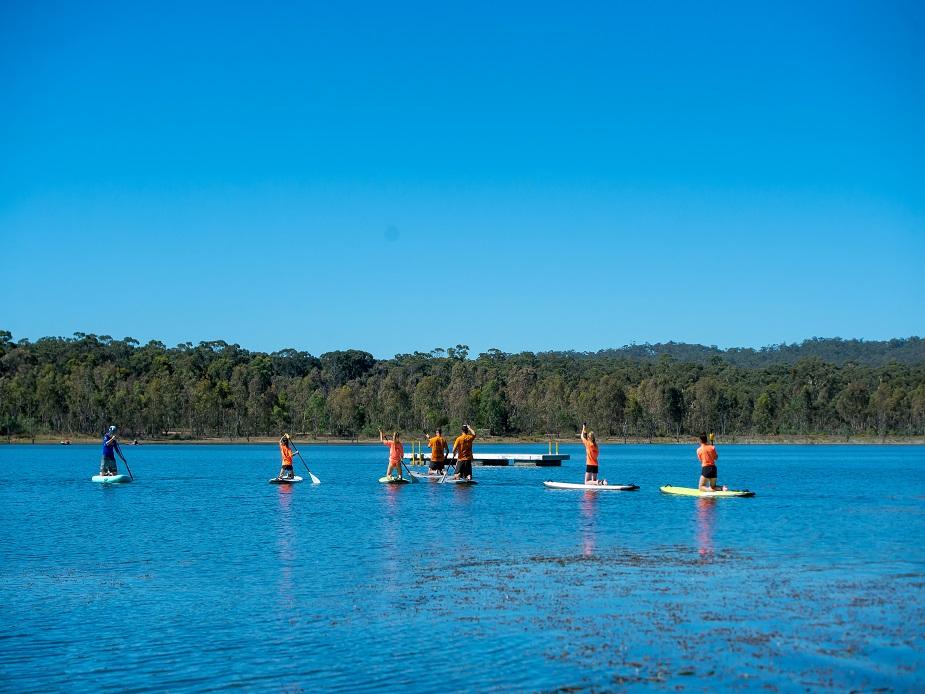 Paddle boarding on Crusoe Reservoir