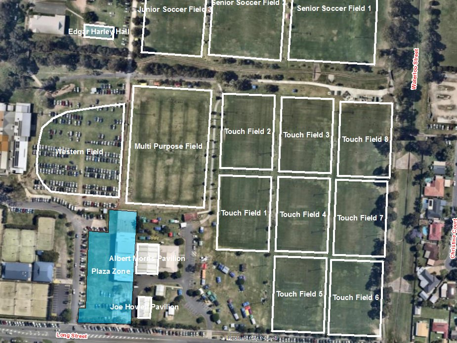 Redland Showgrounds - Plaza Zone - Bookable Area Map